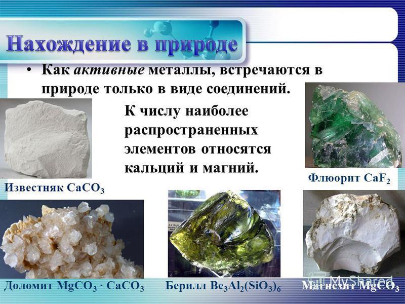 Как активные металлы, встречаются в природе только в виде соединений. К числу наиболее распространенных элементов относятся кальций и магний. Известняк СаСО 3 Доломит MgCO 3 · CaCO 3 Флюорит CaF 2 Магнезит MgCO 3 Берилл Be 3 Al 2 (SiO 3 ) 6