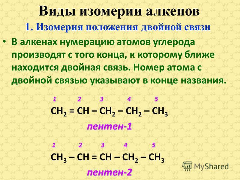 Виды изомерии алкенов В алкенах нумерацию атомов углерода производят с того конца, к которому ближе находится двойная связь. Номер атома с двойной связью указывают в конце названия. 1 2 3 4 5 1 2 3 4 5 СН 2 = СН – СН 2 – СН 2 – СН 3 пентен-1 пентен-1