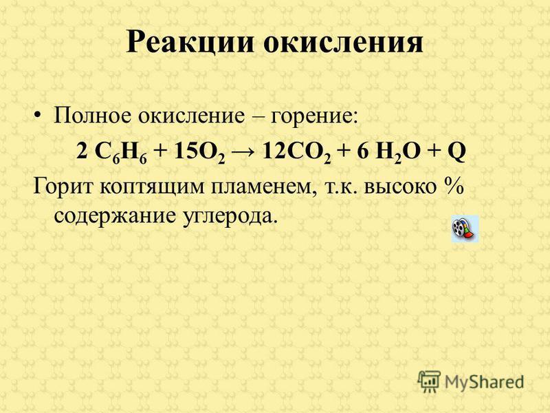 Реакции окисления Полное окисление – горение: 2 С 6 Н 6 + 15О 2 12СО 2 + 6 Н 2 О + Q Горит коптящим пламенем, т.к. высоко % содержание углерода.