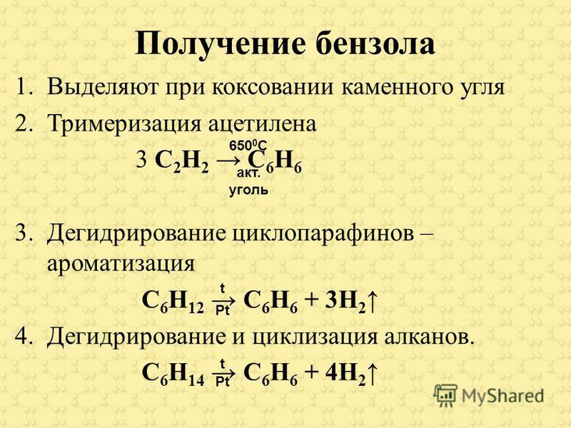 Получение бензола 1. Выделяют при коксовании каменного угля 2. Тримеризация ацетилена 3 С 2 Н 2 С 6 Н 6 3. Дегидрирование циклопарафинов – ароматизация С 6 Н 12 С 6 Н 6 + 3Н 2 4. Дегидрирование и циклизация алканов. С 6 Н 14 С 6 Н 6 + 4Н 2 650 0 С ак