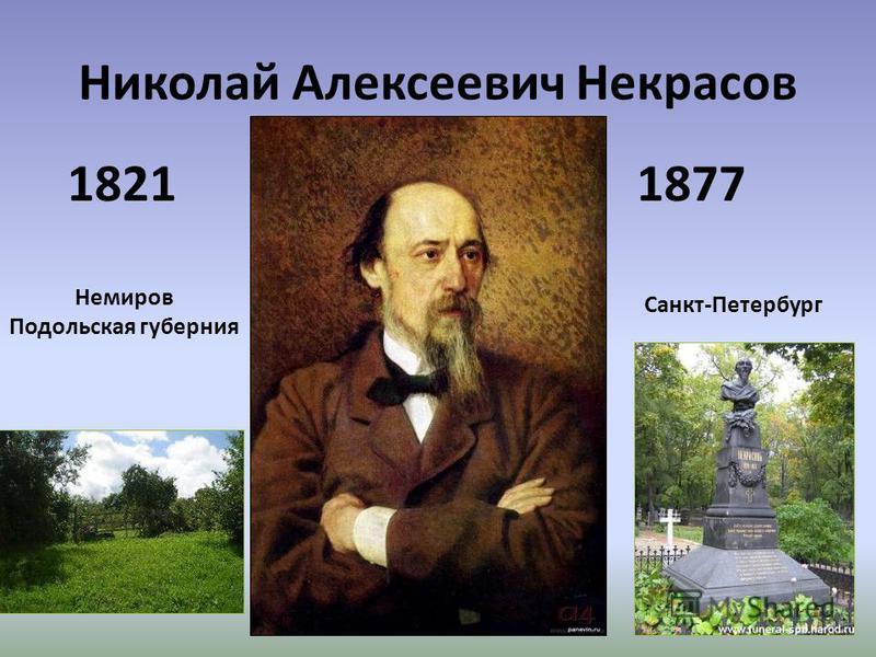 Николай Алексеевич Некрасов 18211877 Немиров Подольская губерния Санкт-Петербург