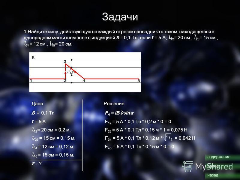 Задачи 1. Найдите силу, действующую на каждый отрезок проводника с током, находящегося в однородном магнитном поле с индукцией В = 0,1 Тл, если I = 5 А, l 12 = 20 см., l 23 = 15 см., l 34 = 12 см., l 45 = 20 см. 12 3 4 5 В 45 ° Дано:Решение В = 0,1 Т