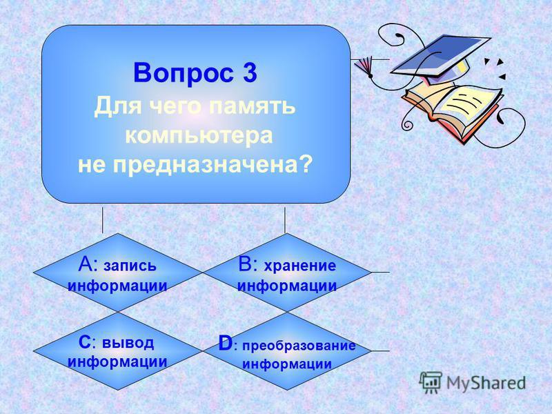 Вопрос 2 Какая из этих величин - из области информатики? А: киловатт B: килобайт C: килобар D: киловольт