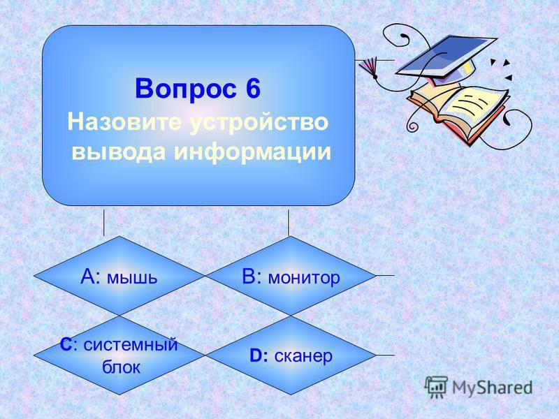 Вопрос 5 Назовите устройство ввода информации А: мышь B: монитор C: системный блок D: принтер