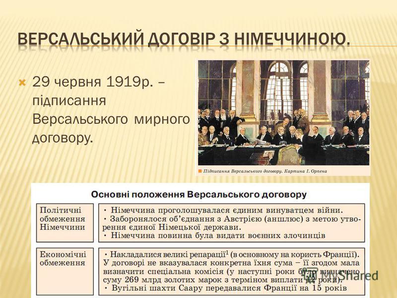 29 червня 1919р. – підписання Версальського мирного договору.