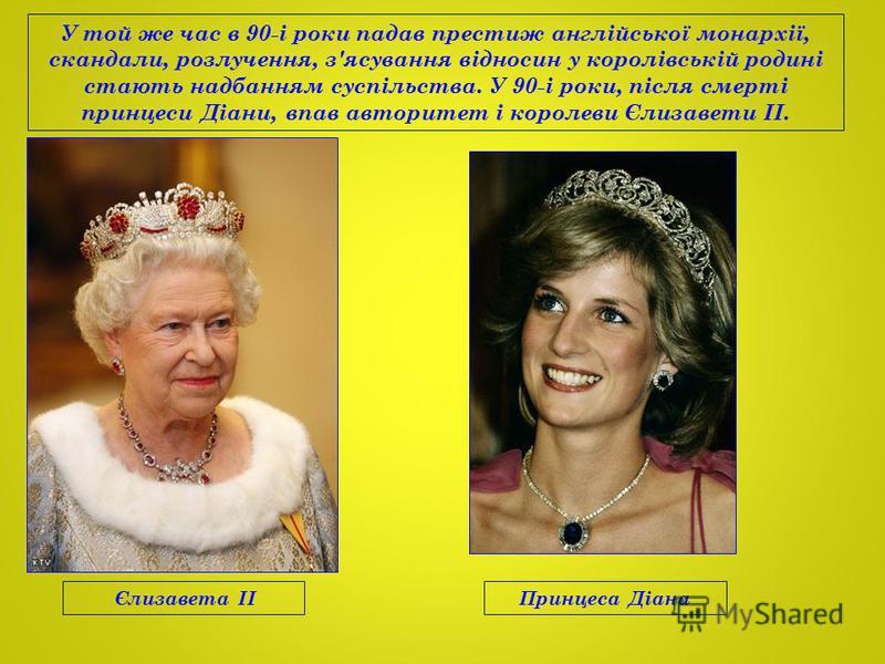 У той же час в 90-і роки падав престиж англійської монархії, скандали, розлучення, з'ясування відносин у королівській родині стають надбанням суспільства. У 90-і роки, після смерті принцеси Діани, впав авторитет і королеви Єлизавети II. Єлизавета IIП