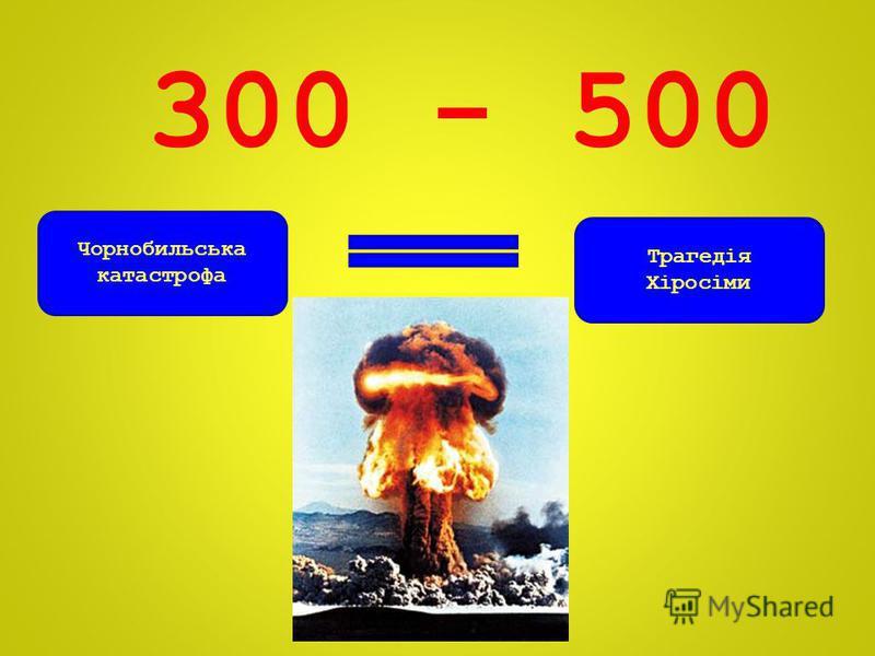 Чорнобильська катастрофа Трагедія Хіросіми 300 - 500