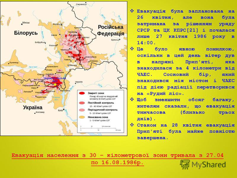 Евакуація була запланована на 26 квітня, але вона була затримана за рішенням уряду СРСР та ЦК КПРС[21] і почалася лише 27 квітня 1986 року в 14:00. Це було явною помилкою, оскільки в цей день вітер дув в напрямі Прип'яті, яка знаходилася за 4 кіломет