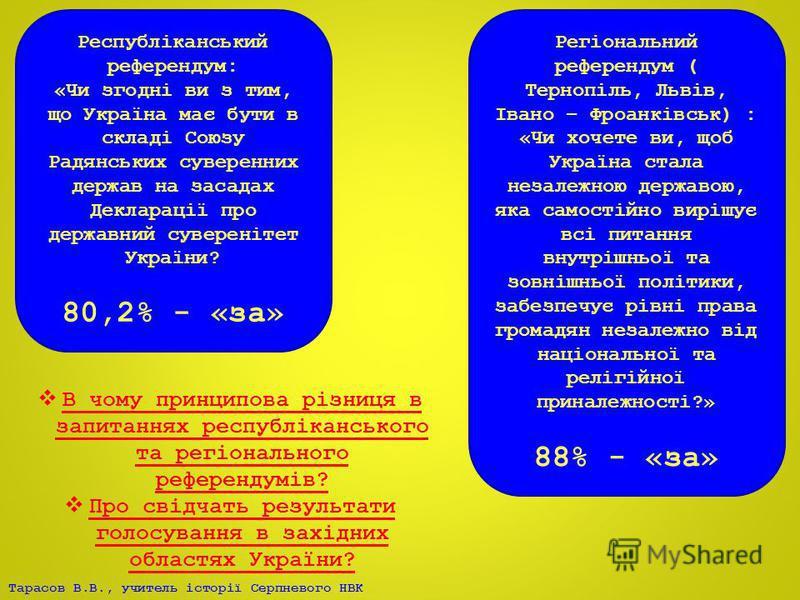 Тарасов В.В., учитель історії Серпневого НВК Республіканський референдум: «Чи згодні ви з тим, що Україна має бути в складі Союзу Радянських суверенних держав на засадах Декларації про державний суверенітет України? 80,2% - «за» Регіональний референд