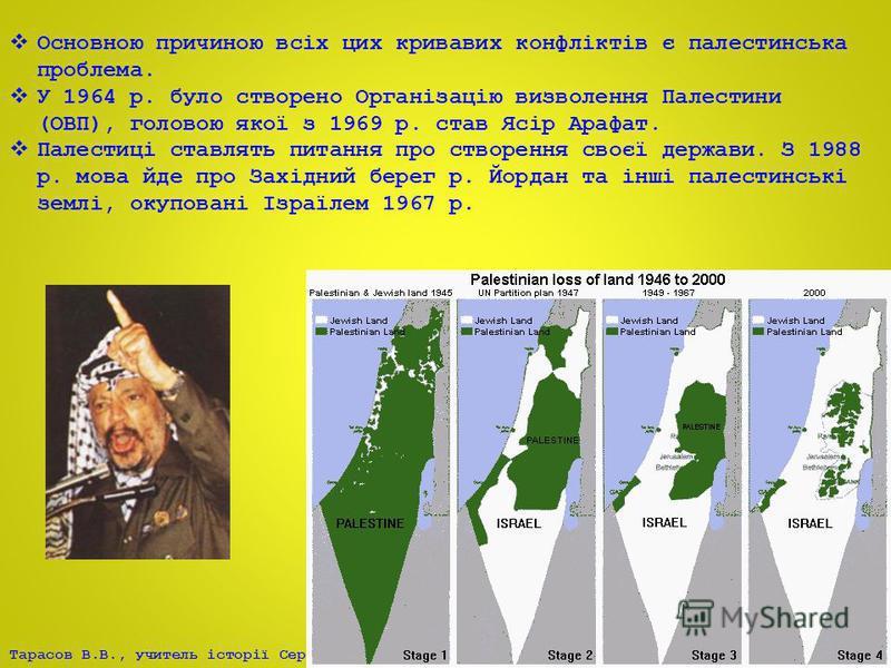 Тарасов В.В., учитель історії Серпневого НВК Основною причиною всіх цих кривавих конфліктів є палестинська проблема. У 1964 р. було створено Організацію визволення Палестини (ОВП), головою якої з 1969 р. став Ясір Арафат. Палестиці ставлять питання п