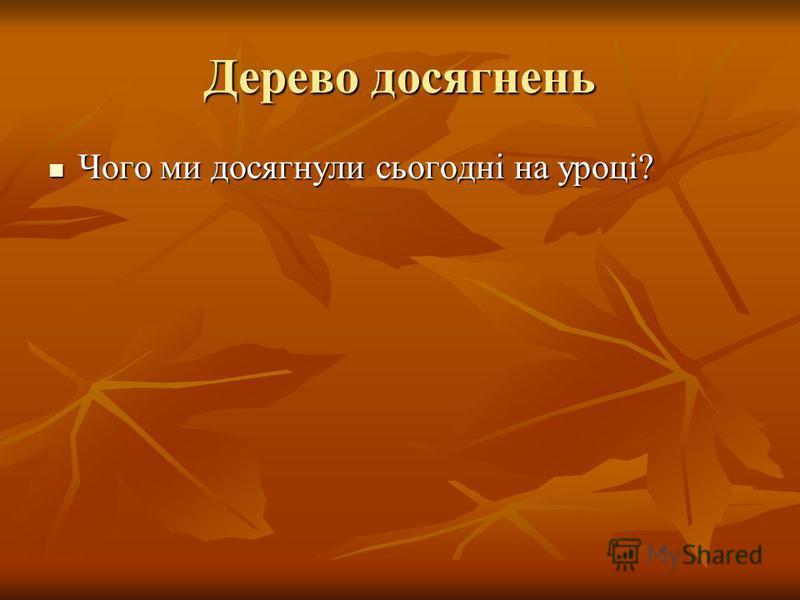 Дерево досягнень Чого ми досягнули сьогодні на уроці? Чого ми досягнули сьогодні на уроці?