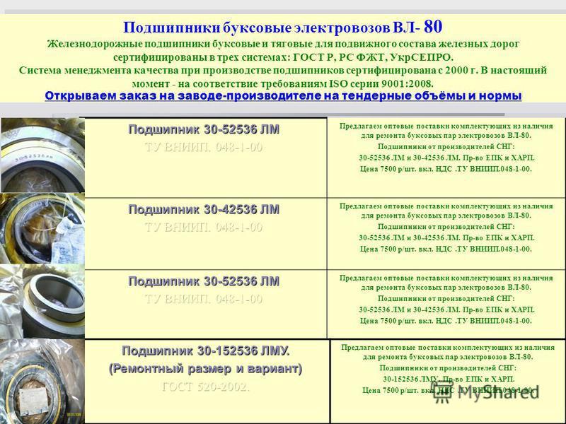 Подшипники буксовые электровозов ВЛ- 80 Железнодорожные подшипники буксовые и тяговые для подвижного состава железных дорог сертифицированы в трех системах: ГОСТ Р, РС ФЖТ, УкрСЕПРО. Система менеджмента качества при производстве подшипников сертифици