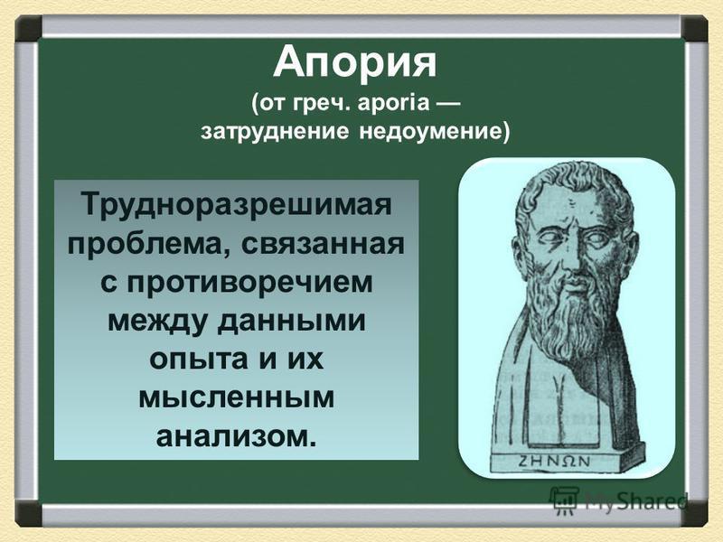 Апория (от греч. aporia затруднение недоумение) Трудноразрешимая проблема, связанная с противоречием между данными опыта и их мысленным анализом.