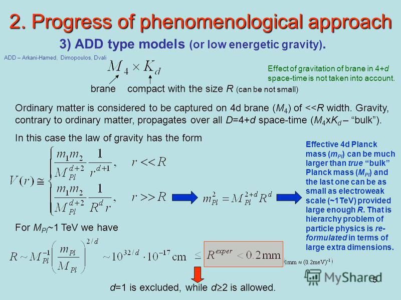5 2. Progress of phenomenological approach 3) ADD type models (or low energetic gravity). Ordinary matter is considered to be captured on 4d brane (M 4 ) of <<R width. Gravity, contrary to ordinary matter, propagates over all D=4+d space-time (M 4 xK
