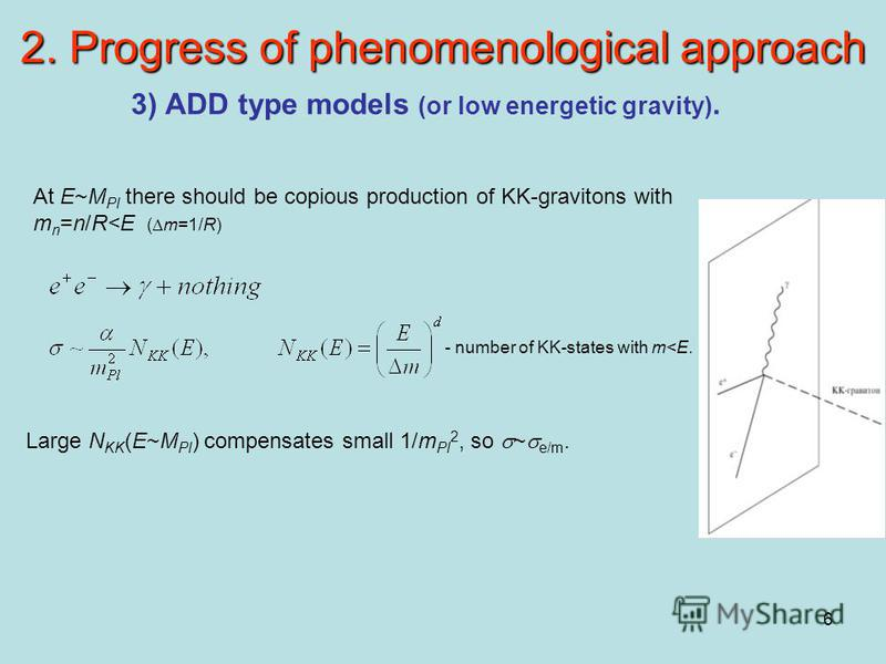 6 2. Progress of phenomenological approach 3) ADD type models (or low energetic gravity). At E~M Pl there should be copious production of KK-gravitons with m n =n/R<E ( m=1/R) - number of KK-states with m<E. Large N KK (E~M Pl ) compensates small 1/m