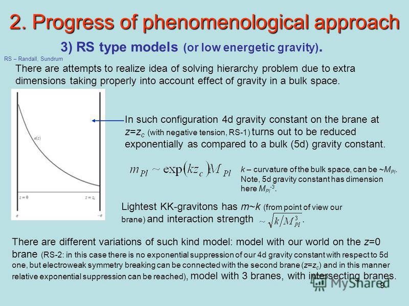 9 2. Progress of phenomenological approach 3) RS type models (or low energetic gravity). There are attempts to realize idea of solving hierarchy problem due to extra dimensions taking properly into account effect of gravity in a bulk space. RS – Rand