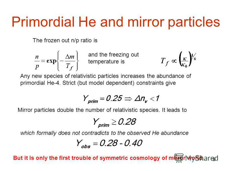 99 Primordial He and mirror particles and the freezing out temperature is Any new species of relativistic particles increases the abundance of primordial He-4. Strict (but model dependent) constraints give Mirror particles double the number of relati
