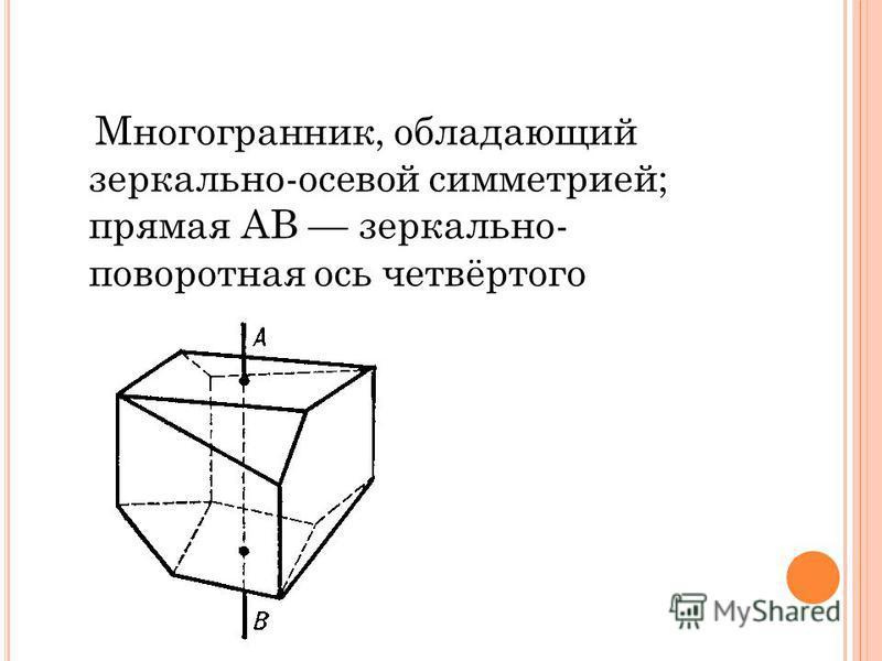 Многогранник, обладающий зеркально-осевой симметрией; прямая AB зеркально- поворотная ось четвёртого порядка.