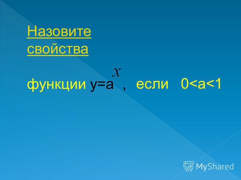 Назовите свойства функции y=a,функции если a>1