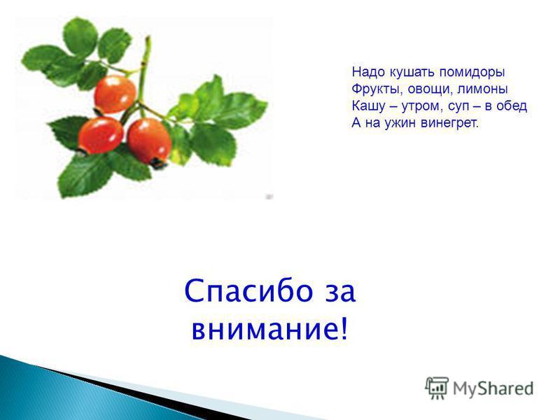 Спасибо за внимание ! Надо кушать помидоры Фрукты, овощи, лимоны Кашу – утром, суп – в обед А на ужин винегрет.