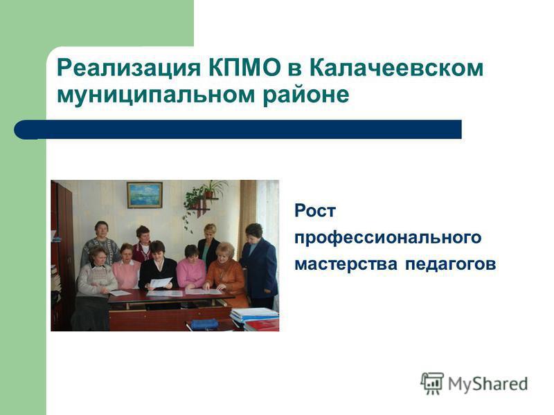 Реализация КПМО в Калачеевском муниципальном районе Рост профессионального мастерства педагогов
