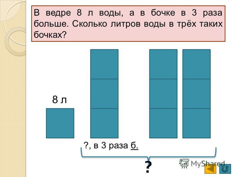 8 л ?, в 3 раза б. ? В ведре 8 л воды, а в бочке в 3 раза больше. Сколько литров воды в трёх таких бочках?