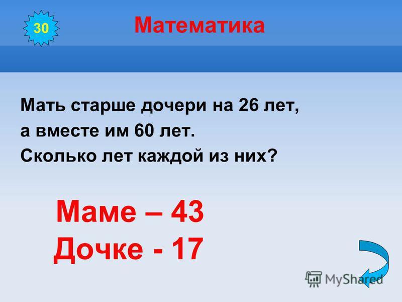 Математика Мать старше дочери на 26 лет, а вместе им 60 лет. Сколько лет каждой из них? Маме – 43 Дочке - 17 30