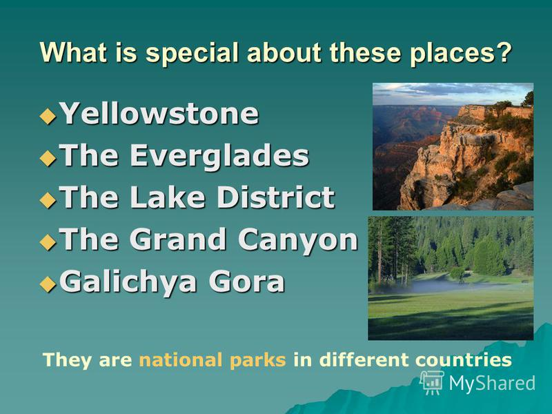 What is special about these places? Yellowstone Yellowstone The Everglades The Everglades The Lake District The Lake District The Grand Canyon The Grand Canyon Galichya Gora Galichya Gora They are national parks in different countries