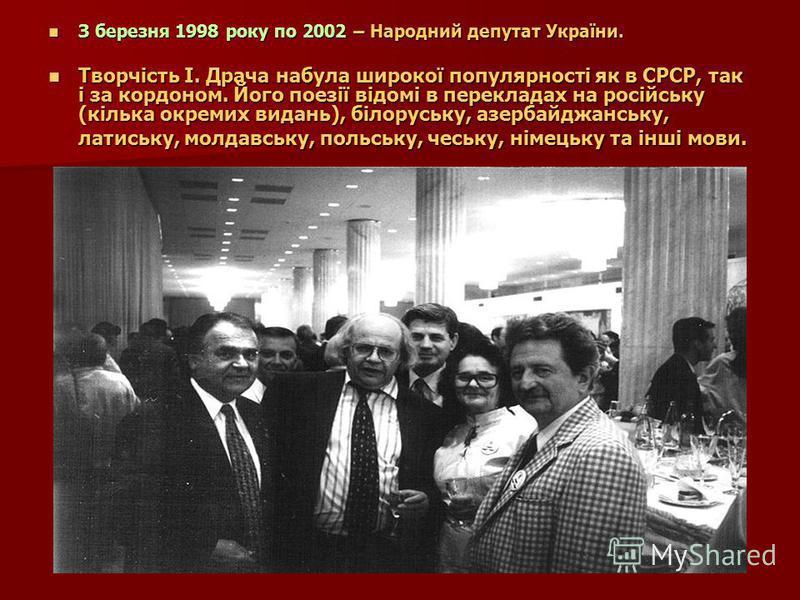 З березня 1998 року по 2002 – Народний депутат України. З березня 1998 року по 2002 – Народний депутат України. Творчість І. Драча набула широкої популярності як в СРСР, так і за кордоном. Його поезії відомі в перекладах на російську (кілька окремих