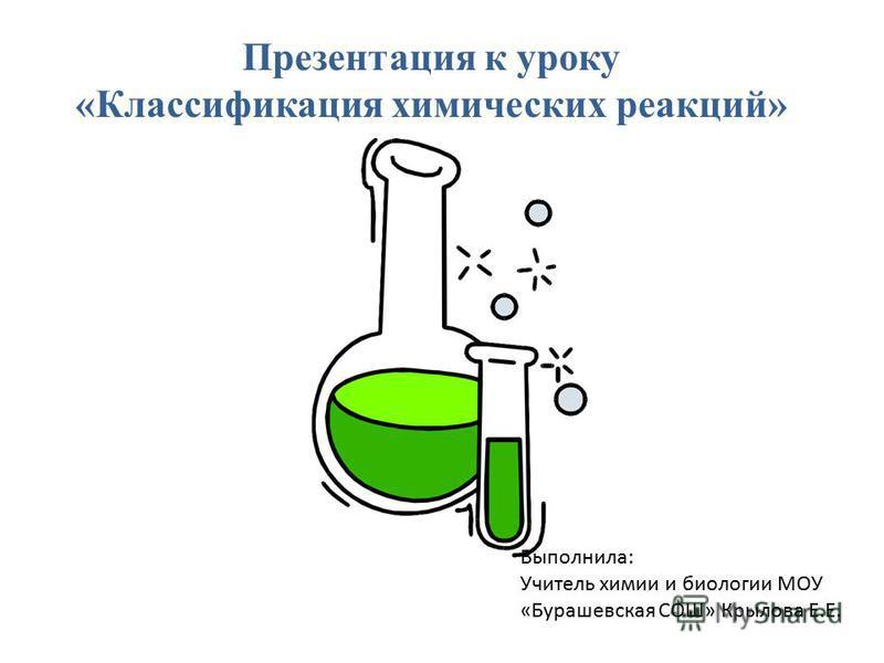 Выполнила: Учитель химии и биологии МОУ «Бурашевская СОШ» Крылова Е.Е. Презентация к уроку «Классификация химических реакций»