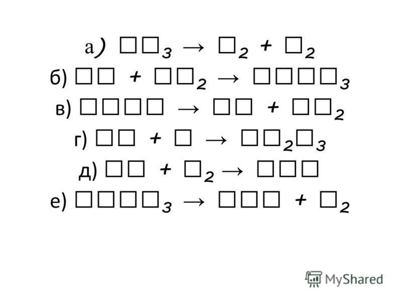 а ) NH 3 N 2 + H 2 б) Fe + Cl 2 FeCl 3 в) AgBr Ag + Br 2 г) Al + S Al 2 S 3 д) Cu + O 2 CuO е) KClO 3 KCl + O 2