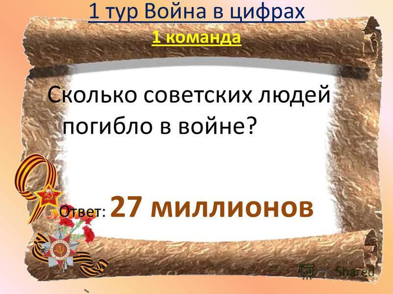 1 тур Война в цифрах 1 команда Сколько советских людей погибло в войне? Ответ: 27 миллионов