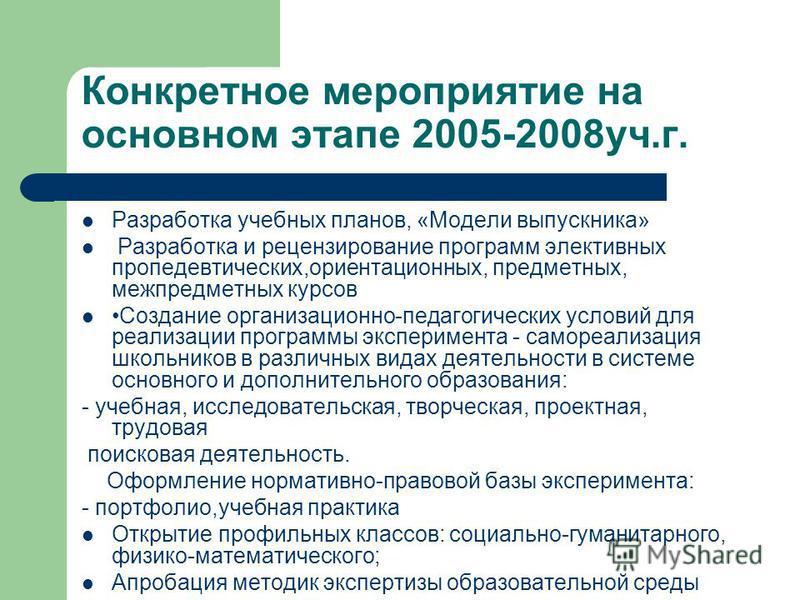 Конкретное мероприятие на основном этапе 2005-2008 уч.г. Разработка учебных планов, «Модели выпускника» Разработка и рецензирование программ элективных пропедевтических,ориентационных, предметных, межпредметных курсов Создание организационно-педагоги