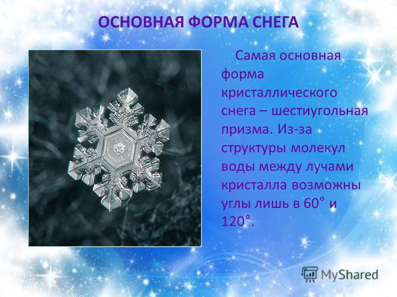 ОСНОВНАЯ ФОРМА СНЕГА Самая основная форма кристаллического снега – шестиугольная призма. Из-за структуры молекул воды между лучами кристалла возможны углы лишь в 60° и 120°.