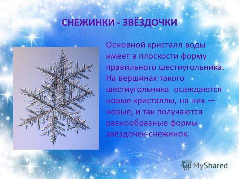 СНЕЖИНКИ - ЗВЁЗДОЧКИ Основной кристалл воды имеет в плоскости форму правильного шестиугольника. На вершинах такого шестиугольника осаждаются новые кристаллы, на них новые, и так получаются разнообразные формы звёздочек-снежинок.