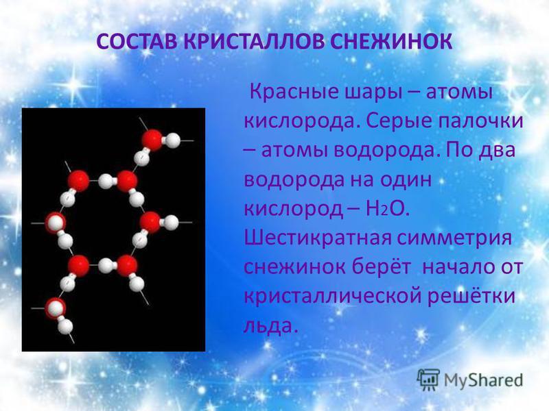 СОСТАВ КРИСТАЛЛОВ СНЕЖИНОК Красные шары – атомы кислорода. Серые палочки – атомы водорода. По два водорода на один кислород – Н 2 О. Шестикратная симметрия снежинок берёт начало от кристаллической решётки льда.