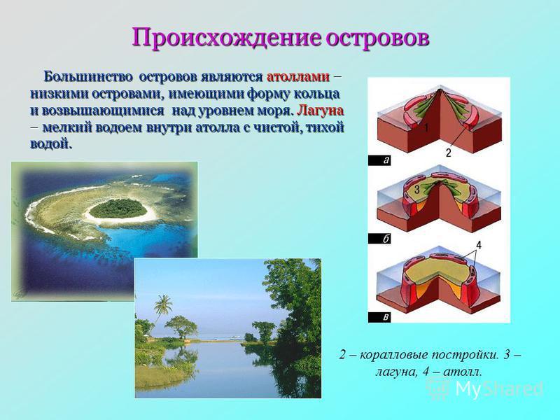 Происхождение островов 2 – коралловые постройки. 3 – лагуна, 4 – атолл. Большинство островов являются атоллами – низкими островами, имеющими форму кольца и возвышающимися над уровнем моря. Лагуна – мелкий водоем внутри атолла с чистой, тихой водой. Б