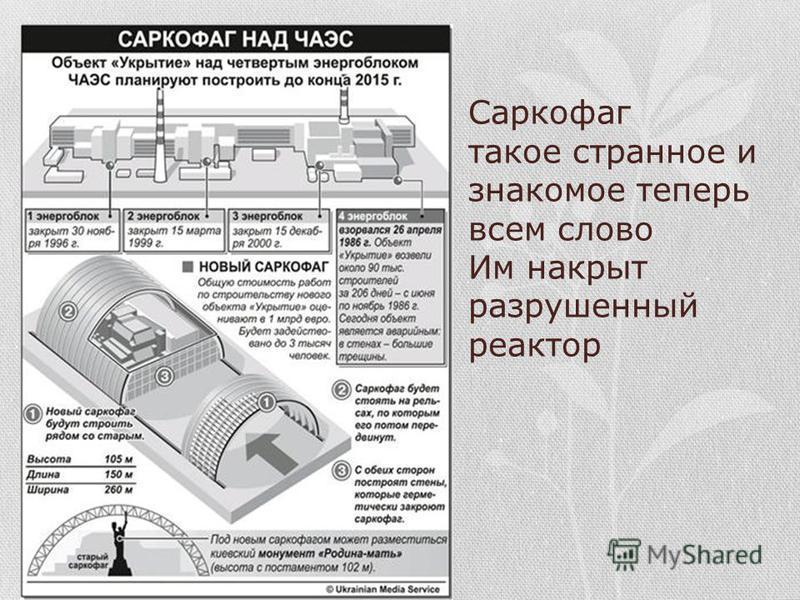Саркофаг такое странное и знакомое теперь всем слово Им накрыт разрушенный реактор