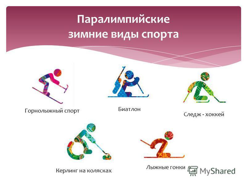Паралимпийские зимние виды спорта Горнолыжный спорт Биатлон Следж - хоккей Керлинг на колясках Лыжные гонки
