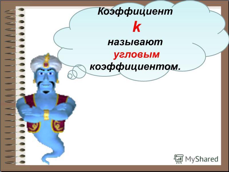 Коэффициент k называют угловым коэффициентом.