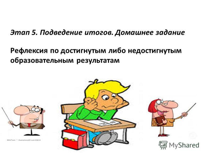 Этап 5. Подведение итогов. Домашнее задание Рефлексия по достигнутым либо недостигнутым образовательным результатам