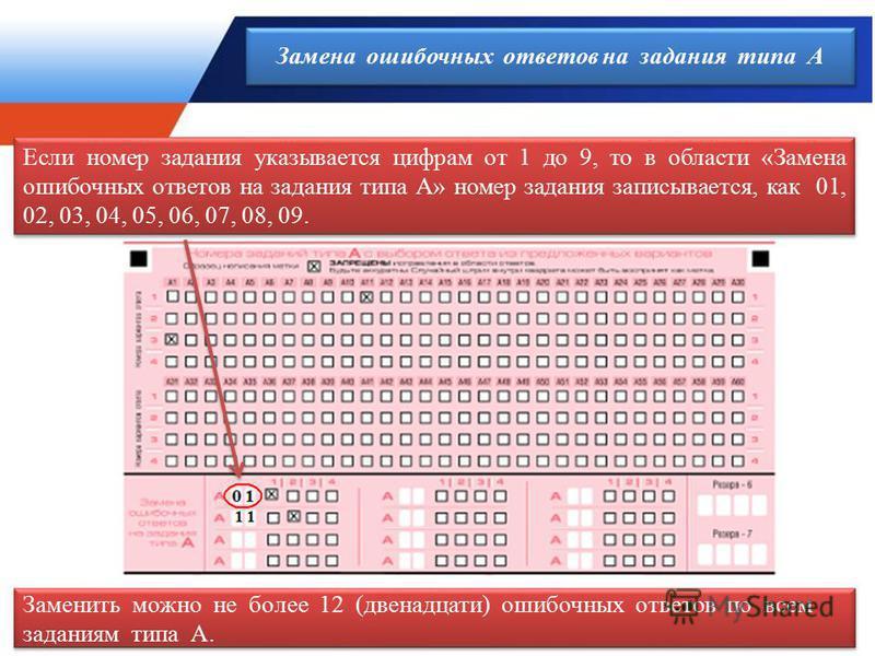 1 Если номер задания указывается цифрам от 1 до 9, то в области «Замена ошибочных ответов на задания типа А» номер задания записывается, как 01, 02, 03, 04, 05, 06, 07, 08, 09. Заменить можно не более 12 (двенадцати) ошибочных ответов по всем задания