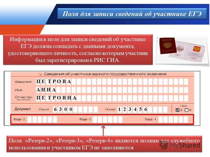 Поля для записи сведений об участнике ЕГЭ Поля «Резерв-2», «Резерв-3», «Резерв-4» являются полями для служебного использования и участником ЕГЭ не заполняются Информация в поле для записи сведений об участнике ЕГЭ должна совпадать с данными документа
