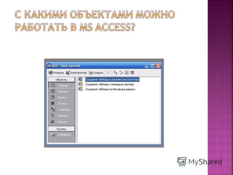 Пуск Программы Microsoft Access