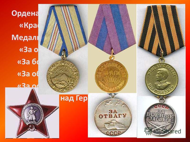 Ордена: «Красная звезда» Медали: «За отвагу», «За боевые заслуги», «За оборону Кавказа», «За освобождение Праги», «За победу над Германией»
