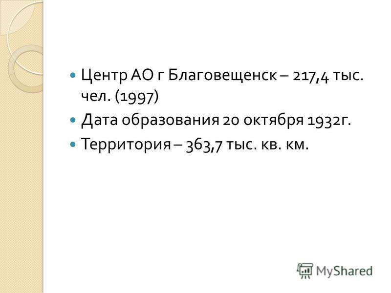 Центр АО г Благовещенск – 217,4 тыс. чел. (1997) Дата образования 20 октября 1932 г. Территория – 363,7 тыс. кв. км.