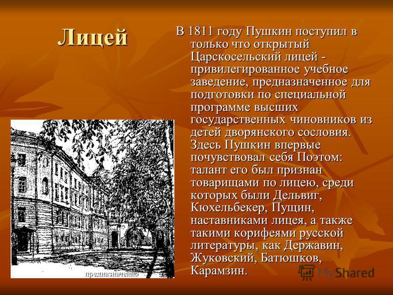 Лицей В 1811 году Пушкин поступил в только что открытый Царскосельский лицей - привилегированное учебное заведение, предназначеное для подготовки по специальной программе высших государственных чиновников из детей дворянского сословия. Здесь Пушкин в
