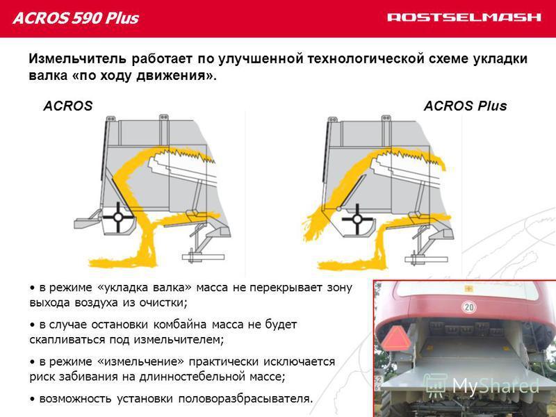 ACROS 590 Plus Измельчитель работает по улучшенной технологической схеме укладки валка «по ходу движения». ACROSACROS Plus в режиме «укладка валка» масса не перекрывает зону выхода воздуха из очистки; в случае остановки комбайна масса не будет скапли