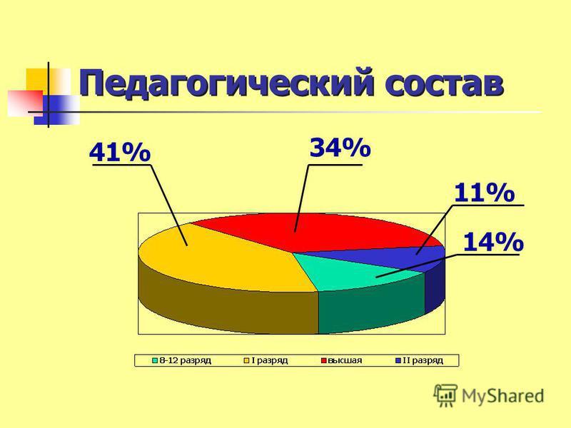 Педагогический состав 34% 41% 11% 14%