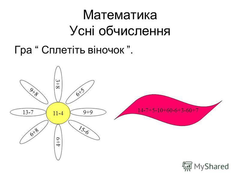 Математика Усні обчислення Гра Сплетіть віночок. 11-4 9+9 9+8 13-7 6+8 4+9 15-6 6+5 3+8 14-7+5-10+60-6+3-60+7